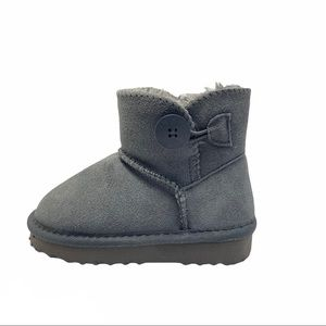 New Girl's Gray Suede Faux Fur Winter Boots Sizs 6